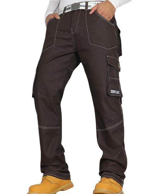 Denim & Dye Banks Brown Coated Combat Jeans by Jeanbase