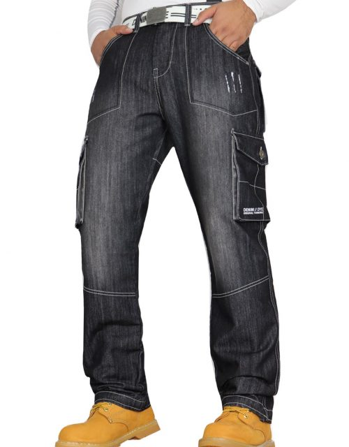 Denim & Dye Banks Black-Wash Combat Jeans by Jeanbase