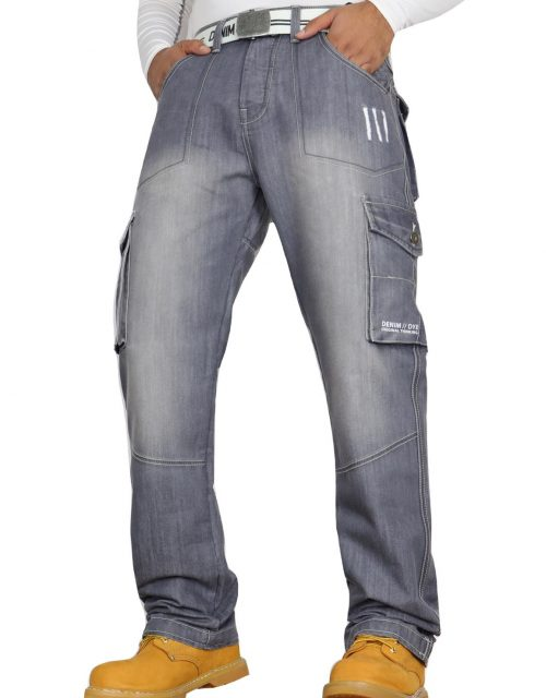 Denim & Dye Banks Grey-Wash Combat Jeans by Jeanbase